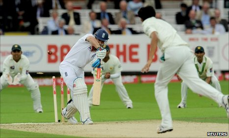 England captain Andrew Strauss is dismissed