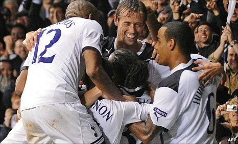 Tottenham celebrate their win over Young Boys