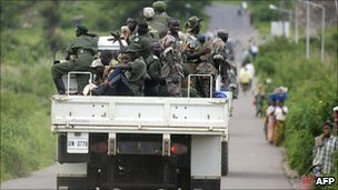 FDLR rebels on a UN truck in eastern DR Congo as they are repatriated (December 2005)