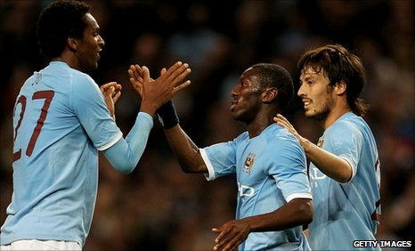 Shaun Wright-Phillips (centre) is congratulated