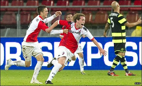 Barry Maguire celebrates his goal against Celtic, Utrecht's fourth