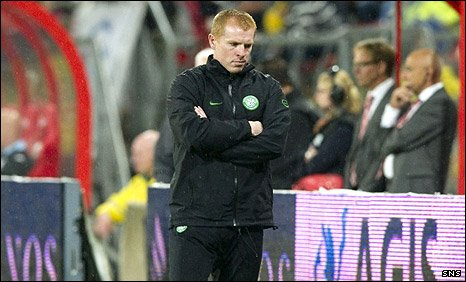 Celtic manager Neil Lennon cuts a dejected figure