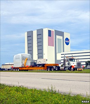 AMS in front of Kennedy's Vehicle Assembly Building (Nasa)