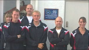 Trainees on Rhyl FC's Football in the Community scheme