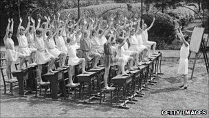 Using outdoor desks as exercise equipment at high school in 1929