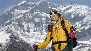 Black Yak picture of Ms Oh at base of Annapurna