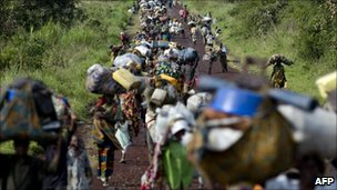 People fleeing fighting in eastern DR Congo - November 2008