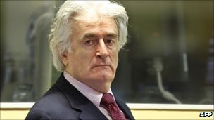 Radovan Karadzic at his trial in The Hague