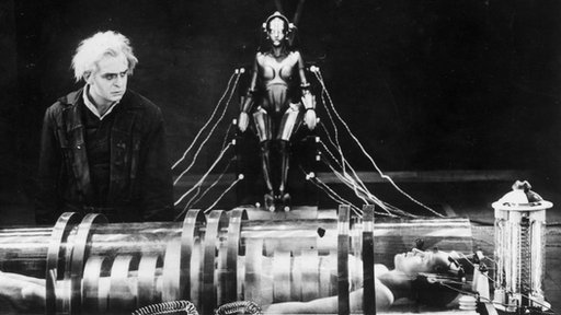 "Rudolf Klein-Rogge and Brigitte Helm in a still from the film, ""Metropolis"""