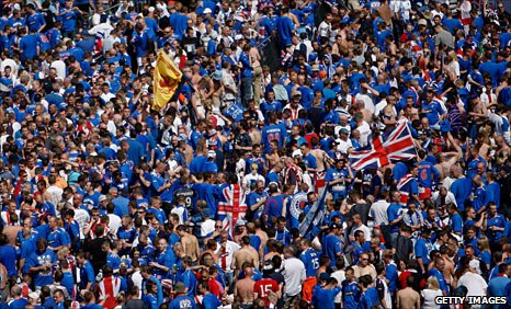 Rangers fans in Manchester