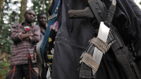 Weapons belonging to a Rwandan Hutu rebel of the FDLR