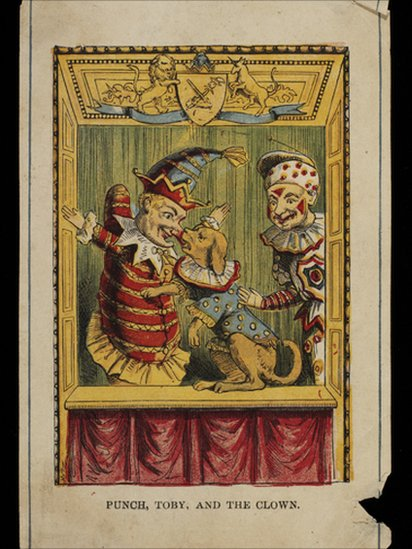 Hand-coloured engraving entitled Punch, Toby, and the Clown.