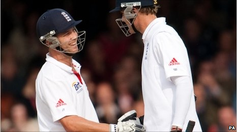 Jonathan Trott and Stuart Broad celebrate their century stand