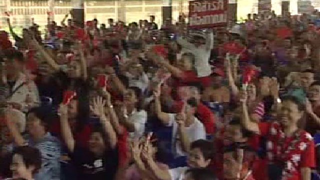 Thai red shirt supporters at a rally