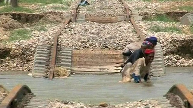 Flooded railway track