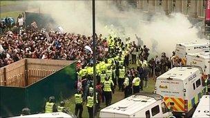 Scene of EDL demonstration in Bradford
