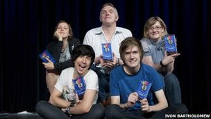 (back from left) Josie Long, Greg Davies, Sarah Millican (front from left) Russell Kane and Bo Burnham.
