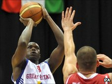 "Great Britain's Luol Deng shoots over Hungary""s Adam Toth (right) during the Eurobasket 2011 Qualifying match at the NIA, Birmingham."