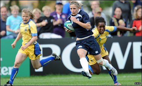 Katy Green races in for a try against Sweden