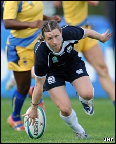Lucy Millard touches down against Sweden