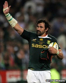 Springboks' Victor Matfield waves to fans as he celebrates his 100th test match during the Tri-Nations Test match between the Springboks and the Wallabies