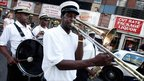 A band plays at a jazz funeral honouring Hurricane Katrina victims