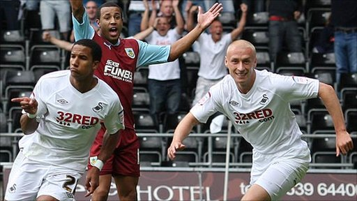 Scott Sinclair (left) celebrates his winning goal against Burnley