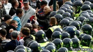 Police and EDL supporters in Bradford