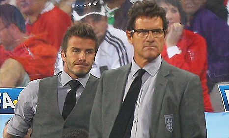 England midfielder David Beckham (left) and manager Fabio Capello