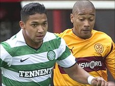 Emilio Izaguirre (left) made his Celtic debut against Motherwell
