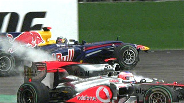 Sebastian Vettel and Jensen Button collide at Spa