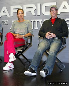 Murray attends an adidas event alongside Ana Ivanovic
