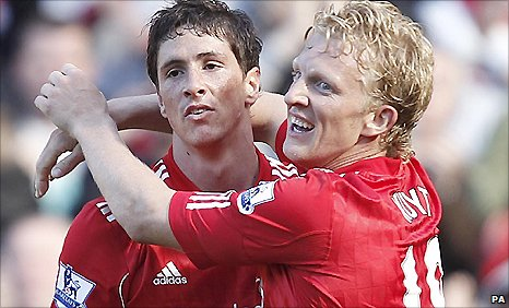 Fernando Torres (left) scored after being set up by Dirk Kuyt
