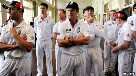 England were in sombre mood at a farical post-match presentation