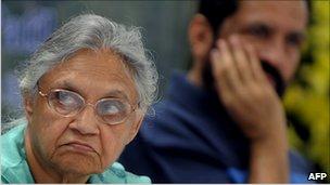 Delhi Chief Minister Sheila Dixit and Suresh Kalmadi