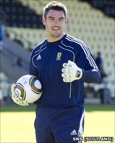 Blackpool keeper Matt Gilks training with Scotland