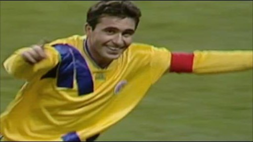 Gheorghe Hagi celebrates his goal