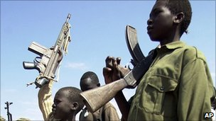 Archive photo of SPLA child soldiers being demobilised in 2001