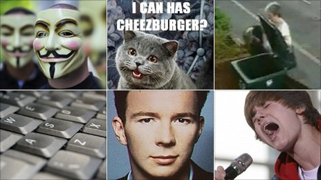 Clockwise: Anonymous anti-Scientology protest; lolcat; Mary Bale dumping kitten Lola in a bin; Justin Bieber; Rick Astley; keyboard