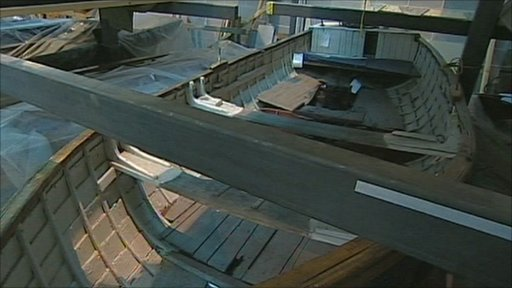 Builder Ian Baird is constructing a replica of a crabber boat
