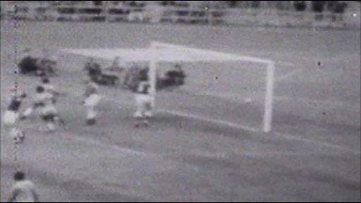 Pele celebrates his goal