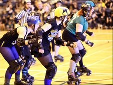 NRG at their first bout, Hadrian's Brawl in April 2010