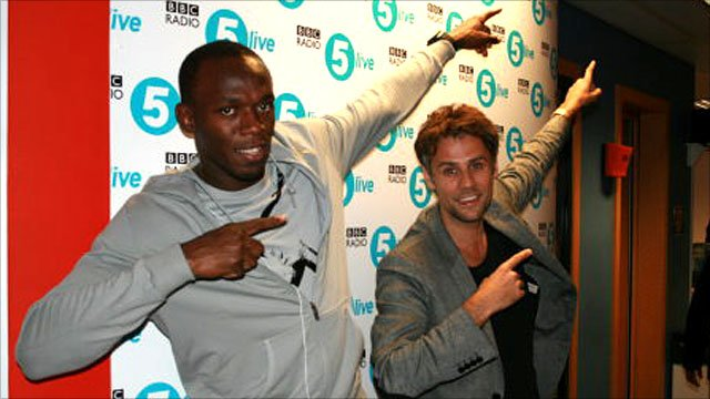 Usain Bolt and Radio 5 live's Richard Bacon