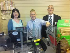 Cllr Mary Lea, Darnall Forum manager, Neil Bishop and Rob Russell, Darnall Post Office manager