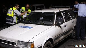 The vehicle that carried four Israelis killed in a shooting attack near Hebron, 31 August 2010