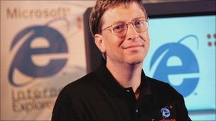 Bill Gates with IE logo in background