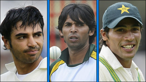 Pakistan cricketers, L-R: Salman Butt, Mohammad Asif and Mohammad Aamer