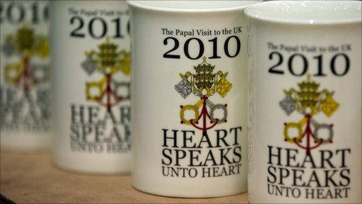 Souvenir mugs commemorating visit of Pope Benedict XVI to UK