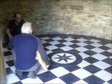 Black and white marble floor of the Rotunda