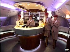 The bar-lounge area on board an A380